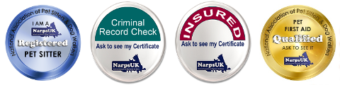 I am Pet Sitter; NarpsUK-Criminal Record Check; NarpsUK-Insured; NarpsUK-Insured